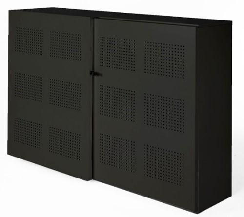 Akoestische schuifdeurkast Nice Price 120hx194bx46d cm kleur zwart voorzien van 6 legborden.