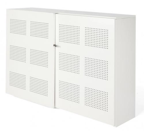 Akoestische schuifdeurkast Nice Price 120hx160bx46d cm kleur wit voorzien van 6 legborden.