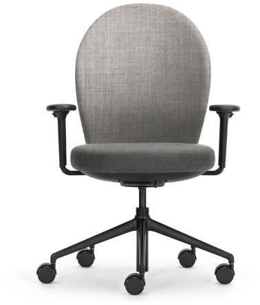 Bureaustoel Marva rug rond gestoffeerd licht grijs 66, ziting gestoffeerd, armleggers 4d, voetkruis zwart kunststof en wielen zacht.