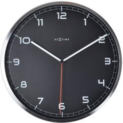 Wandklok NeXtime 'Company' diameter 35x4.2cm aluminium zwart NE-3080ZW.