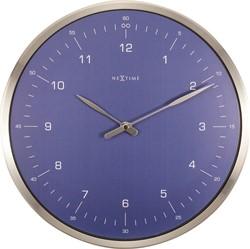 Wandklok NeXtime diameter 33cm 60 min. metaal blauw NE-3243BL.
