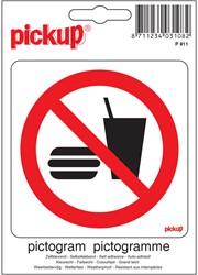 Pictogram sticker Pickup 10x10cm 'Verboden consumpties'.