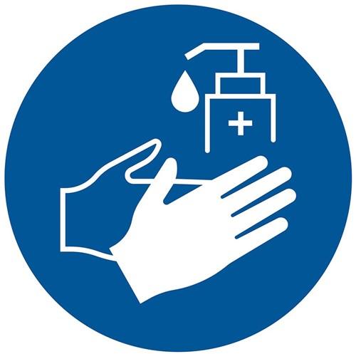 Pictogram sticker Pickup rond 15cm 'Handen desinfecteren verplicht'.