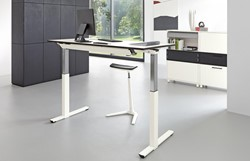 Bureautafel Palmberg electrisch verstelbaar solitair afmeting blad 160(l)x80(d)x65/125(h)cm kleur wit / blad wit inclusief display.