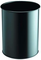 Papierbak Durable 330101 rond zwart 15 liter 260x315mm.