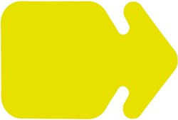 Etalagekarton fluor geel pijlvorm 15x20cm 380 grams pak van 50 vel.