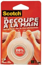 Plakband Scotch crystal clear tape 19mmx25m handafscheurbaar.