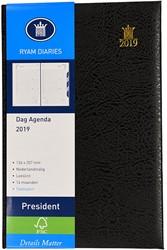 Agenda 2019 Ryam President 1 dag per pagina 13,6x20,7cm met maandtabs omslag zwart wit papier (900092).