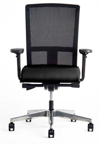 Bureaustoel Prosedia Se7en rug netbespanning zwart, zitting gestoffeerd zwart, voetkruis alu gepolijst en wielen zacht.