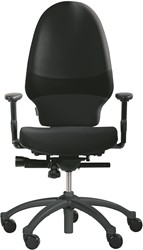 Bureaustoel RH Extend 120 stoffering zwart fame 60999 voetkruis aluminium gelakt zilver.