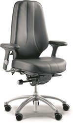 Bureaustoel RH Logic 400 XL stoffering zwart fame 60999 voetkruis aluminium gelakt zilver.