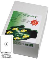 Universele etiketten Rillprint A4 105x148mm wit 1.000 vel / 4.000 stuks.