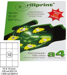 Universele etiketten Rillprint A4 70x70mm wit 100 vel / 1.200 stuks.
