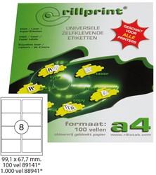 Verzendetiketten Rillprint A4 99.1x67.7mm wit afgeronde hoeken 100 vel / 800 stuks.