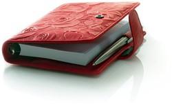 Agenda omslag Succes Junior model Rosa  - zacht kalfsleer met een rozenprint in de kleur rood - mechaniek: 15mm PJ252RS12.