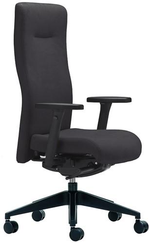 Bureaustoel Rovo XP4015S1 armleggers XP2, rug en zitting gestoffeerd  bondai 039 zwart, voetkruis zwart kunststof en wielen zacht.