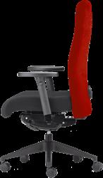 Bureaustoel rovo 4015 rug rood, zitting zwart, voetkruis kunststof zwart.