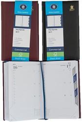 Agenda 2018 Ryam Commercial 1 dag per pagina 11,5x18,5cm 14 maanden met maandtabs omslag bordeaux wit papier.
