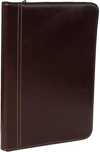 Schrijfmap Brepols Palermo A5 18,2X26,5cm met ritssluiting, schrijfblok - omslag kastanjebruin.