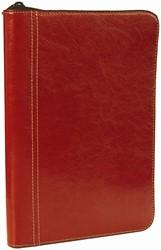 Schrijfmap Brepols Palermo A5 18,2X26,5cm met ritssluiting, schrijfblok - omslag rood.