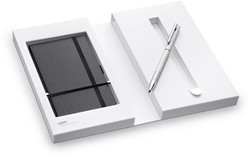 Lamy balpen / vulpotlood Lamy twin 606 brushed met notebook E146 zwart.