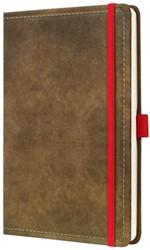 Agenda 2019 Sigel Conceptum 7 dagen per 2 pagina's A5 omslag Vintage bruin lederlookcover fluweelzacht met elastiek sluiting in contrastrijk rood.