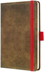 Agenda 2019 Sigel Conceptum 7 dagen per 2 pagina's A6 omslag Vintage bruin lederlookcover fluweelzacht met elastiek sluiting in contrastrijk rood.