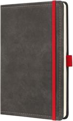 Agenda 2019 Sigel Conceptum 7 dagen per 2 pagina's A5 omslag Vintage donkergrijs lederlookcover fluweelzacht met elastiek sluiting in contrastrijk rood.