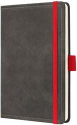 Agenda 2019 Sigel Conceptum 7 dagen per 2 pagina's A6 omslag Vintage donkergrijs lederlookcover fluweelzacht met elastiek sluiting in contrastrijk rood.