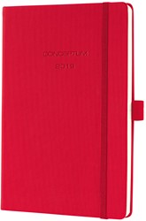 Agenda 2019 Sigel Conceptum 7 dagen per 2 pagina's A5 omslag rood hardcover met elastiek sluiting.