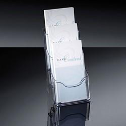 Folderhouder Sigel  LH133 1/3 A4 3-vaks glashelder acryl capaciteit 30 mm.