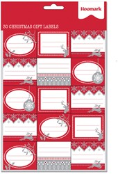Cadeaulabels kerst stickervel met 30 stickers.