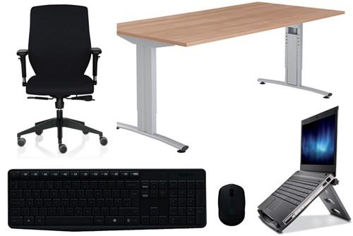 Thuiswerkpakket Comfort: Bureau + laptopstandaard + muis/toetsenbord + bureaustoel.