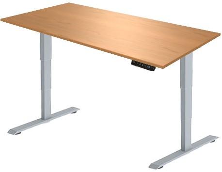 Zit sta bureau Huislijn elektrisch 120x80 cm, blad toscaanse noten en frame aluminium met display bediening.