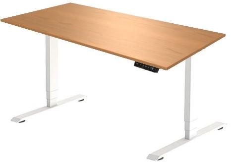 Zit sta bureau Huislijn elektrisch 160x80 cm, blad toscaanse noten en frame wit met display bediening.
