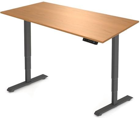 Zit sta bureau Huislijn elektrisch 160x80 cm, blad toscaanse noten en frame zwart met display bediening.