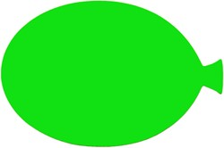 Etalagekarton fluor groen ballonvorm 15cm 380 grams pak van 10 vel.