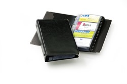 Visitekaartringband Durable 255x145mm 4-ringsmechaniek kunstleder zwart capaciteit 200 visitekaarten 57x90mm.
