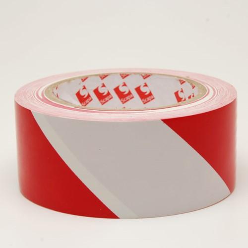 Vloermarkeringstape PVC 50mm x 33 meter rood/wit.