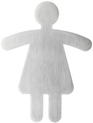Deurbordje Durable 120x90mm zelfklevend met picto vorm wc dames..
