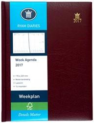 Agenda 2018 Ryam Weekplan 7 dagen per 2 pagina's 17x22cm omslag bordeaux wit papier.