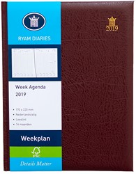 Agenda 2019 Ryam Weekplan 7 dagen per 2 pagina's 17x22cm omslag bordeaux wit papier (900185).