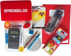 Wiskundepakket Sprengeloo 2018 Passer/Driehoek/Koershoekmeter/HB Potlood/Calculator/Gum/Potloodslijper/Balpen /A4 schrift/Kleurpotloden/Hardcase/Tas.
