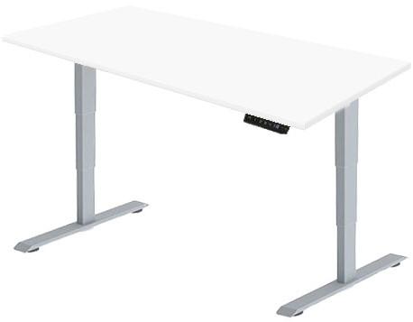 Zit sta bureau Huislijn elektrisch 180x80 cm, blad wit en frame aluminium met display bediening.