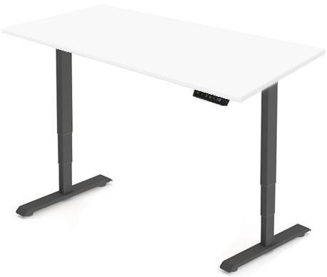 Zit sta bureau Huislijn elektrisch 200x80 cm, blad wit en frame zwart met display bediening.