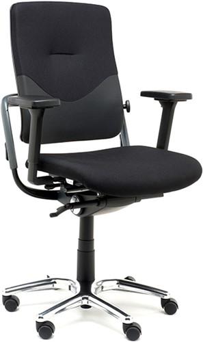 Bureaustoel Nowy Style (voorheen Rohde & Grahl) Xenium classic XL stoffering extreme zwart, armleggers A92 stamskin, voetkruis alu gepolijst en wielen zacht.