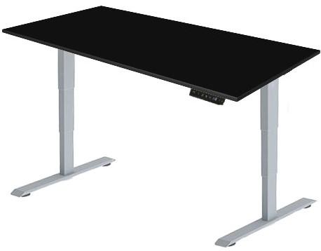 Zit sta bureau Huislijn elektrisch 180x80 cm, blad zwart en frame aluminium met display bediening.