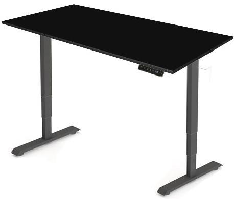 Zit sta bureau Huislijn elektrisch 160x80 cm, blad zwart en frame zwart met display bediening.